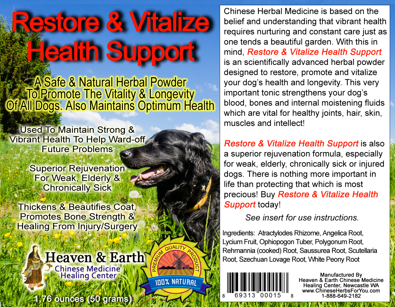 Restore and Vitalize Health Support Powder for Pets Full Label