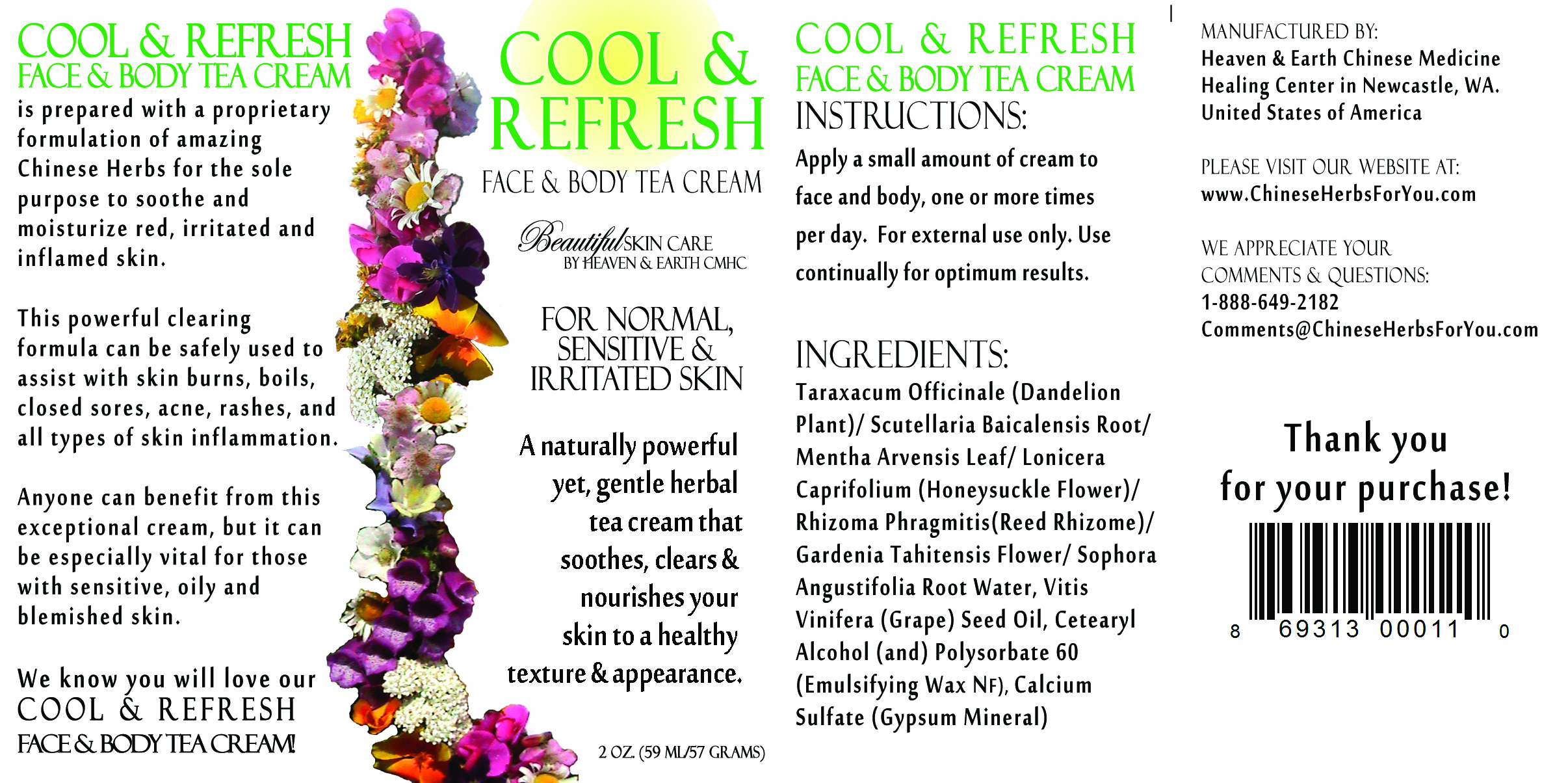 Cool & Refresh Face & Body Herbal Tea Cream - Whole Label Detail