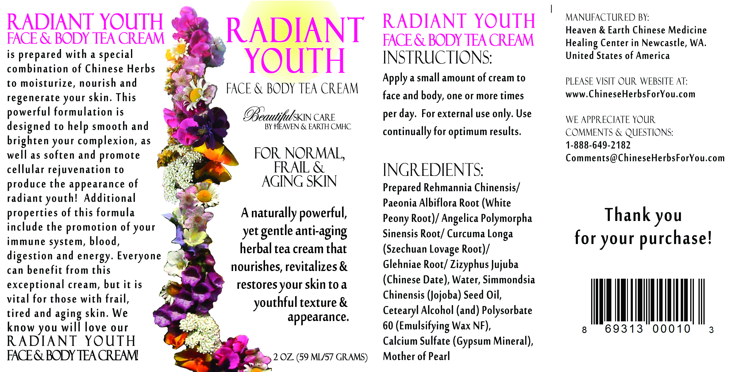 Radiant Youth Face & Body Herbal Tea Cream - Full Label