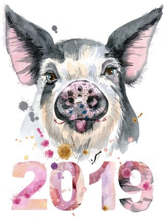 Cute piggy. Pig for T-shirt graphics. Watercolor pig in black spots illustration. New year 2019